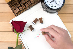 Γραμματόσημα επιστολών αγάπης για την ημέρα βαλεντίνων Στοκ Φωτογραφίες