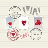 Γραμματόσημα ημέρας βαλεντίνου καθορισμένα Στοκ εικόνα με δικαίωμα ελεύθερης χρήσης