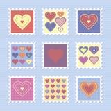 Γραμματόσημα ημέρας του ευτυχούς βαλεντίνου Στοκ Εικόνες