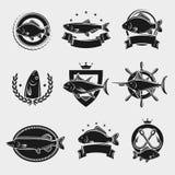 Γραμματόσημα και ετικέτες ψαριών καθορισμένα διάνυσμα ελεύθερη απεικόνιση δικαιώματος