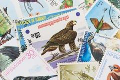 Γραμματόσημα με ένα θέμα πουλιών Στοκ Φωτογραφία