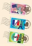 Γραμματόσημα ορόσημων καθορισμένα ελεύθερη απεικόνιση δικαιώματος