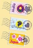 Γραμματόσημα ορόσημων καθορισμένα διανυσματική απεικόνιση