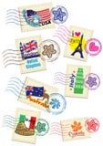 Γραμματόσημα παγκόσμιας χώρας καθορισμένα ελεύθερη απεικόνιση δικαιώματος