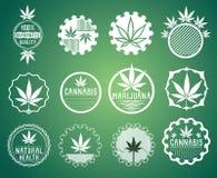 Γραμματόσημα συμβόλων προϊόντων καννάβεων και μαριχουάνα  στοκ εικόνα