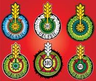 Γραμματόσημα σχεδίου αγροτικών οργανικά βιο προϊόντων σίτου στοκ εικόνες με δικαίωμα ελεύθερης χρήσης