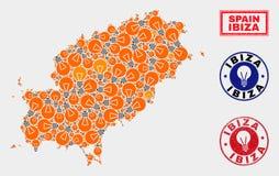 Γραμματόσημα χαρτών και κινδύνου νησιών Ibiza μωσαϊκών ενεργειακών βολβών ελεύθερη απεικόνιση δικαιώματος