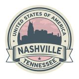 Γραμματόσημο ή ετικέτα με το όνομα του Νάσβιλ, Τένεσι διανυσματική απεικόνιση