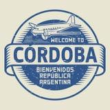 Γραμματόσημο ή ετικέττα με την υποδοχή αεροπλάνων και κειμένων στην Κόρδοβα, Argentin διανυσματική απεικόνιση