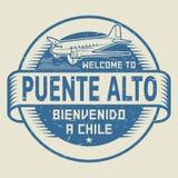 Γραμματόσημο ή ετικέττα με την υποδοχή κειμένων αεροπλάνων σε Puente Alto, Χιλή ελεύθερη απεικόνιση δικαιώματος