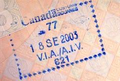 Γραμματόσημο διαβατηρίων άφιξης μετανάστευσης του Καναδά Στοκ φωτογραφίες με δικαίωμα ελεύθερης χρήσης