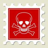 γραμματόσημο κρανίων σημαδιών κινδύνου Στοκ φωτογραφία με δικαίωμα ελεύθερης χρήσης