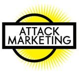 Γραμματόσημο μάρκετινγκ επίθεσης τυπωμένων υλών στο λευκό απεικόνιση αποθεμάτων