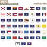 Γραμματόσημο με τις σημαίες ΑΜΕΡΙΚΑΝΙΚΟΥ κράτους Σύνολο σημαίας 51 αμερικανικών κρατών απεικόνιση αποθεμάτων
