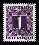 Γραμματόσημο που τυπώνεται στην Αυστρία, παρουσιάζουν οι αριθμοί, γραμματόσημα ονομαστικής αξίας Στοκ φωτογραφίες με δικαίωμα ελεύθερης χρήσης