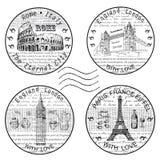 Γραμματόσημο Ρώμη Παρίσι διανυσματική απεικόνιση
