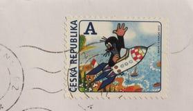 Γραμματόσημο της Δημοκρατίας της Τσεχίας στο Μπρνο Στοκ Φωτογραφία
