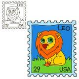 Γραμματόσημο Χρωματίζοντας σελίδα βιβλίων διανυσματική απεικόνιση