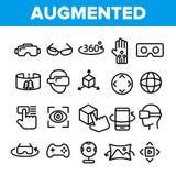 Γραμμικά διανυσματικά εικονίδια αυξημένης, εικονικής πραγματικότητας καθορισμένα ελεύθερη απεικόνιση δικαιώματος