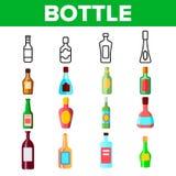Γραμμικά διανυσματικά εικονίδια μπουκαλιών γυαλιού καθορισμένα διανυσματική απεικόνιση