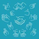 Γραμμικά εικονίδια χειρονομιών επιχειρησιακών χεριών διανυσματική απεικόνιση