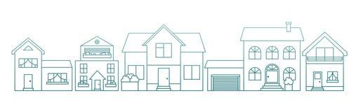 Γραμμικά διαφορετικά σπίτια ύφους περιλήψεων Απεικόνιση αποθεμάτων