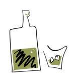 Γραμμικά τυποποιημένα μπουκάλι και γυαλί ουίσκυ Στοκ Φωτογραφίες