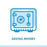 Γραμμικά ΧΡΗΜΑΤΑ ΑΠΟΤΑΜΙΕΥΣΗΣ εικονιδίων της χρηματοδότησης, τραπεζικές εργασίες Κατάλληλος για τη Mobil Στοκ Φωτογραφία