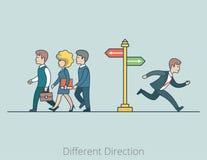 Γραμμικές επίπεδες διαφορετικές κατευθύνσεις επιχειρηματιών διανυσματική απεικόνιση