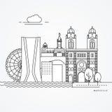 Γραμμική απεικόνιση της Μασσαλίας, Γαλλία Στοκ εικόνες με δικαίωμα ελεύθερης χρήσης