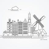 Γραμμική απεικόνιση του Άμστερνταμ, Κάτω Χώρες Στοκ εικόνα με δικαίωμα ελεύθερης χρήσης