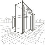 Γραμμική αρχιτεκτονική κατασκευή δύο σκίτσων τεμνόμενες αψίδες στοκ φωτογραφίες
