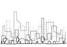 Γραμμική αρχιτεκτονική πανοραμική σκιαγραφία τμημάτων οδών σκίτσων αφηρημένη στοκ εικόνες
