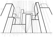 Γραμμική αρχιτεκτονική προοπτική οδών 3point σκίτσων αφηρημένη στοκ φωτογραφία