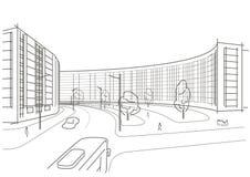 Γραμμική αρχιτεκτονική πόλη σκίτσων Στοκ Φωτογραφίες