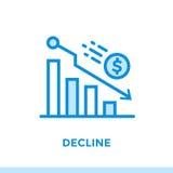 Γραμμική ΠΤΩΣΗ εικονιδίων της χρηματοδότησης, κατάθεση Κατάλληλος για κινητό app Στοκ εικόνες με δικαίωμα ελεύθερης χρήσης