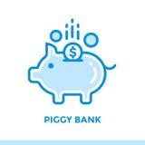 Γραμμική ΤΡΆΠΕΖΑ εικονιδίων PIGGY της χρηματοδότησης, κατάθεση Κατάλληλος για κινητό Στοκ φωτογραφία με δικαίωμα ελεύθερης χρήσης