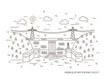 Γραμμική υδρο ηλεκτρική διανυσματική απεικόνιση σταθμών απεικόνιση αποθεμάτων