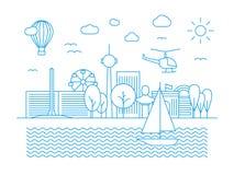 Γραμμικός αστικός ορίζοντας Πανόραμα πόλεων στο διανυσματικό ύφος τέχνης γραμμών ελεύθερη απεικόνιση δικαιώματος