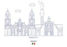 Γραμμικός ορίζοντας πόλεων του Μεξικού ελεύθερη απεικόνιση δικαιώματος