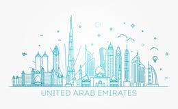 Γραμμικό έμβλημα των Ηνωμένων Αραβικών Εμιράτων Στοκ Φωτογραφίες