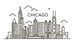Γραμμικό έμβλημα της πόλης του Σικάγου Τέχνη γραμμών Στοκ φωτογραφία με δικαίωμα ελεύθερης χρήσης
