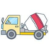 Γραμμικό απλό φορτηγό τσιμέντου που χωρίζεται στο άσπρο διάστημα ελεύθερη απεικόνιση δικαιώματος
