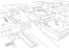 Γραμμικό αρχιτεκτονικό άσπρο υπόβαθρο σπιτιών σκίτσων terraced Στοκ Φωτογραφία