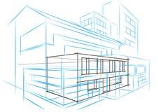 Γραμμικό αρχιτεκτονικό αφηρημένο κτήριο έννοιας σκίτσων στοκ φωτογραφία