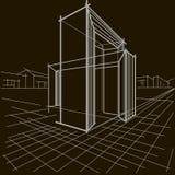 Γραμμικό αρχιτεκτονικό σκίτσο δύο τεμνόμενες αψίδες στο μαύρο υπόβαθρο στοκ εικόνες