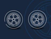 Γραμμικό εικονίδιο ροδών - ελάχιστο σύμβολο ή σημάδι ελαστικών αυτοκινήτου αυτοκινήτων διανυσματική απεικόνιση