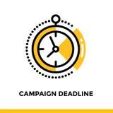 Γραμμικό εικονίδιο προθεσμίας εκστρατείας για την επιχείρηση ξεκινήματος Εικονόγραμμα στο ύφος περιλήψεων Διανυσματικό επίπεδο ει Στοκ Εικόνες