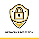 Γραμμικό εικονίδιο προστασίας δικτύων για την επιχείρηση ξεκινήματος Εικονόγραμμα στο ύφος περιλήψεων Διανυσματικό επίπεδο εικονί Στοκ Εικόνες