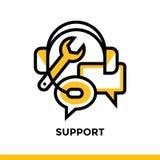 Γραμμικό εικονίδιο υποστήριξης για την επιχείρηση ξεκινήματος Εικονόγραμμα στο ύφος περιλήψεων Διανυσματικό επίπεδο εικονίδιο γρα Στοκ Εικόνα